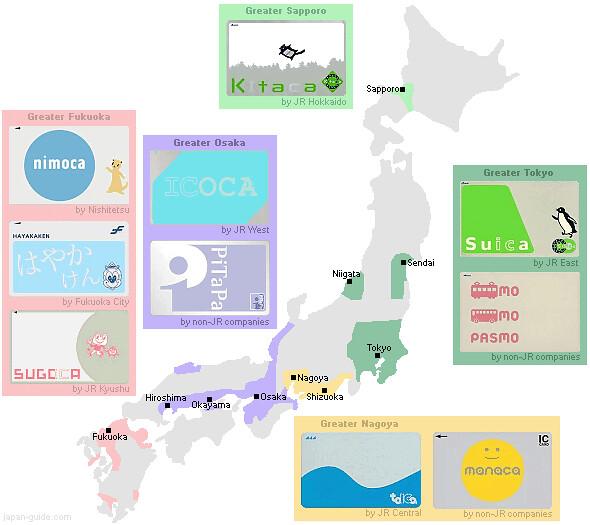 Pasmo Suica Icoca-map