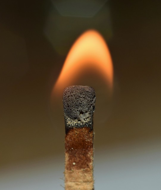 Paper match seconds after ignition