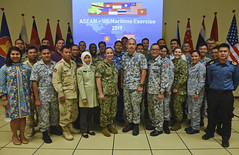 U.S. Navy Sailors and representatives of ASEAN member state maritime forces gather for a photo in Singapore during the ASEAN-U.S. Maritime Exercise (AUMX). (U.S. Navy/MC2 Jimmy Ong)