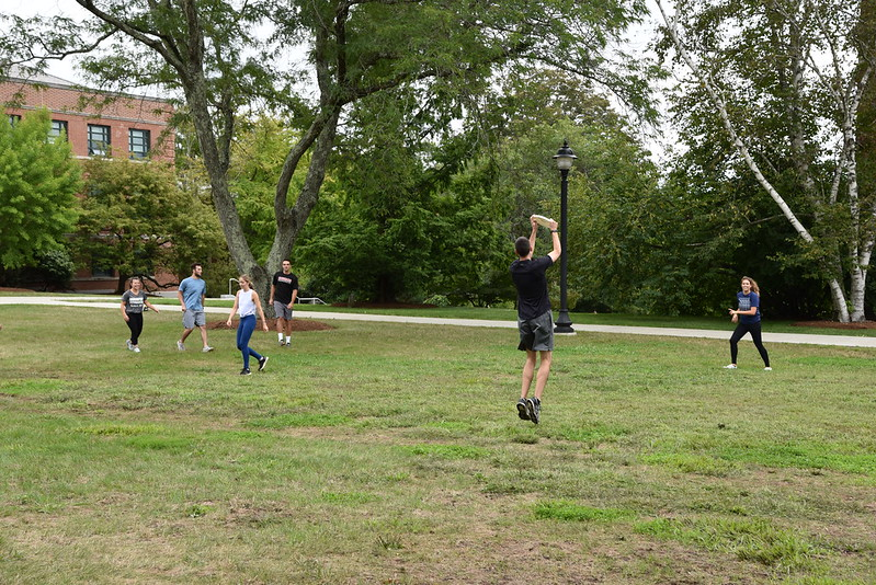 Student catching frisbee