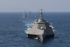 The littoral combat ship USS Montgomery (LCS 8) and ships from various Association of Southeast Asian Nations sail in formation through the Gulf of Thailand, Sept. 4, as part of AUMX. (U.S Navy/MC1 Alexandra Seeley)