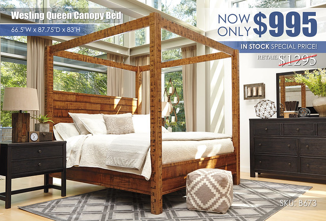 Wesling Queen Canopy Bed Special_B673 Clearance