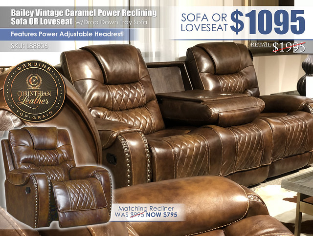Bailey Vintage Caramel Leather Power Reclining Sofa OR Love_L88806_NEW