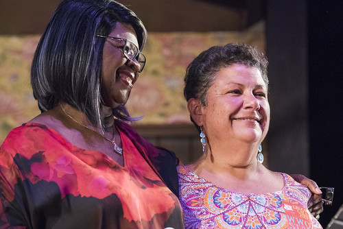 Irma Thomas and Beth Arroyo Utterback at the WWOZ Groove Gala at Tableau and Le Petit Theatre in New Orleans on September 5, 2019. Photo by Ryan Hodgson-Rigsbee RHRphoto.com