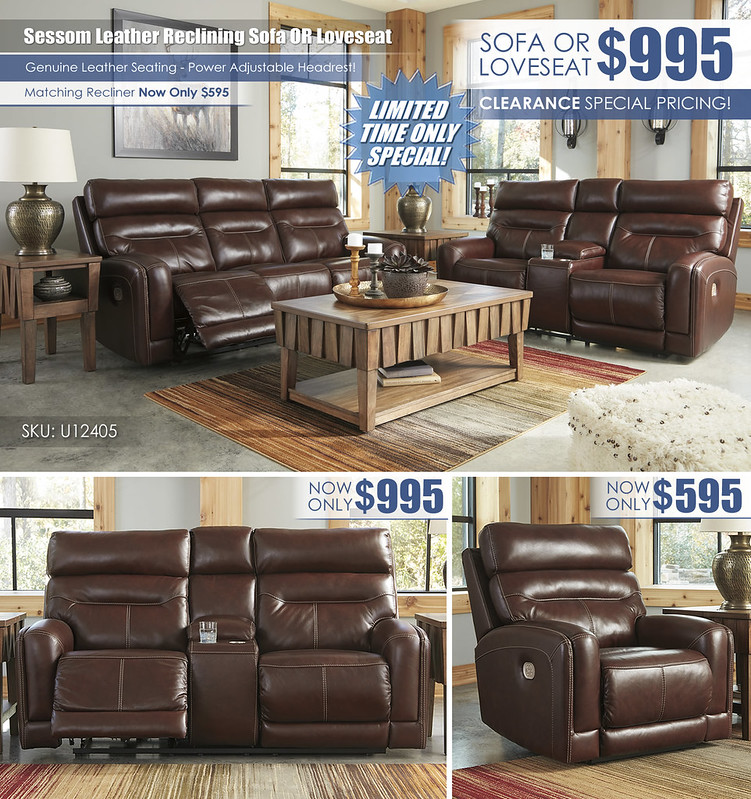 Sessom Leather Reclining Sofa OR Loveseat Layout_U12405-15-18-T783_Clearance