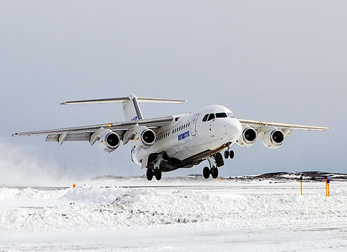 Aerovías DAP BAe146 despegando Antártida (DAP)