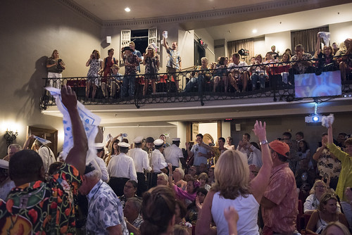 Storyville Stompers lead the second line into the theater at the WWOZ Groove Gala at Tableau and Le Petit Theatre in New Orleans on September 5, 2019. Photo by Ryan Hodgson-Rigsbee RHRphoto.com
