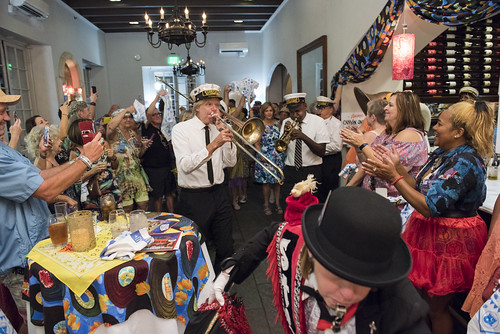 Storyville Stompers lead the second line at the WWOZ Groove Gala at Tableau and Le Petit Theatre in New Orleans on September 5, 2019. Photo by Ryan Hodgson-Rigsbee RHRphoto.com