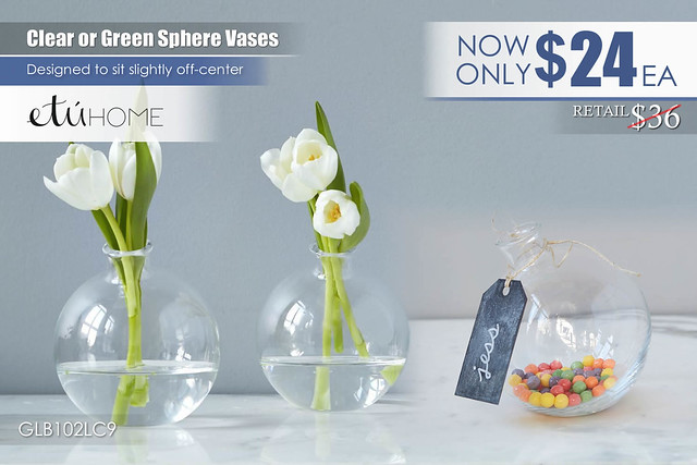 Clear or Green Sphere Vases GLB102LC9