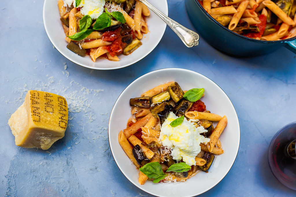 A classic Italian recipe, also known as pasta alla norma, ziti with roasted eggplant and ricotta cheese is a quick and impressive pasta dish.