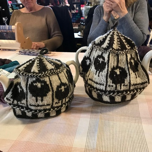 2 of the Sheep Carousel tea cosies that we're made during our last Colourwork and Steeking Class