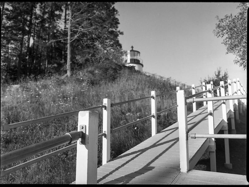 looking up, ramp, railing, Lighthouse, Owl's Head, Maine, Mamiya 645 Pro, mamiya sekor 45mm f-2.8, Kodak TMAX 400, HC-110 developer, August 2019 (1 of 1)
