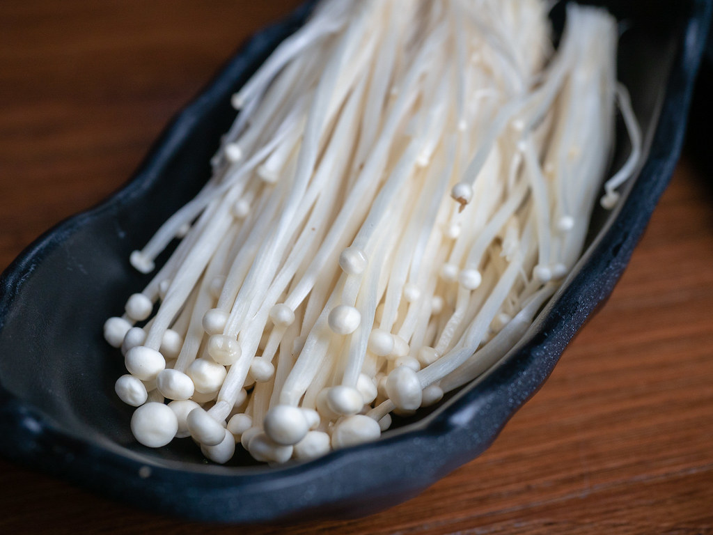 Fresh Enoki Mushroom for the steamboat.
