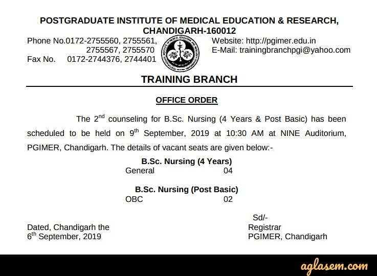 PGIMER B Sc Nursing Result 2019 (Out) - 2nd Counselling