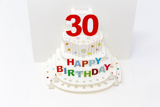 Foldable Happy Birthday card for a thirtieth birthday shows a cake | by verchmarco