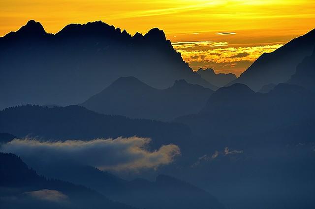 Italy, sunrise in Dolomiti