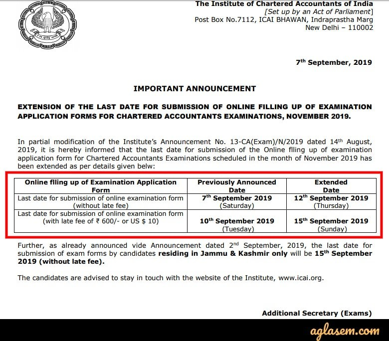 CA Final 2019 Application Form (Released) - Apply Here for