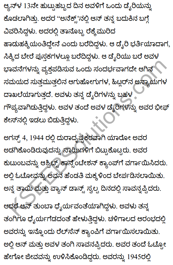 The Girl who was Anne Frank Summary in Kannada 2