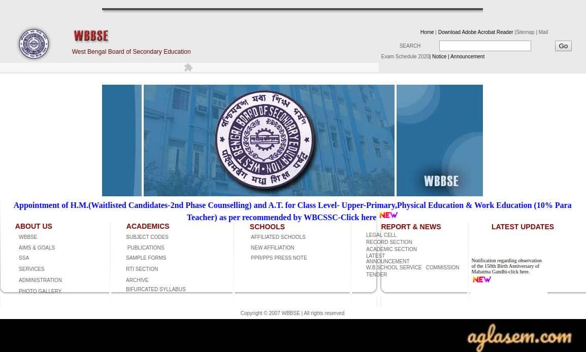 WBBSE Madhyamik Admit Card 2020