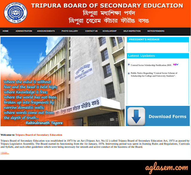 TBSE Admit Card 2020