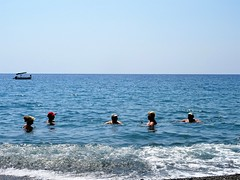 Go for a swim? Do it the Greek way: go out there and chat!