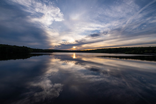 clouds lake reflection sky statepark sunset trees waterscape hopkinton ma unitedstates