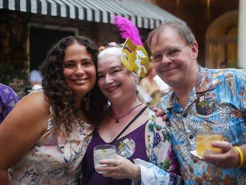 Volunteers Jennifer, Dianna, and Mike at the Groove Gala - Sep. 5, 2019. Photo by Katherine Johnson.