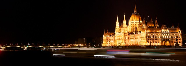 Budapest parliament house at night