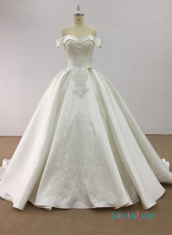 H0599 Modest Vintage Fold Off The Shoulder Satin Princess Ball