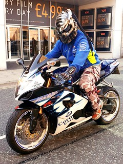 Predator was racing through Carlisle City Centre today, on his Suzuki GSX-R !!!