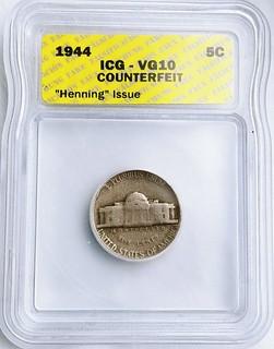 Slabbed 1944 Henning Nickel reverse