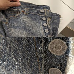 These jeans are made from machine sewing...as in now sewn up out of denim but fabric created with embroidery. My tiny mind is a bit blown. Also saw panels from the World Cup animated embroidery @londonembroiderystudio does amazing work. It's been a wonder