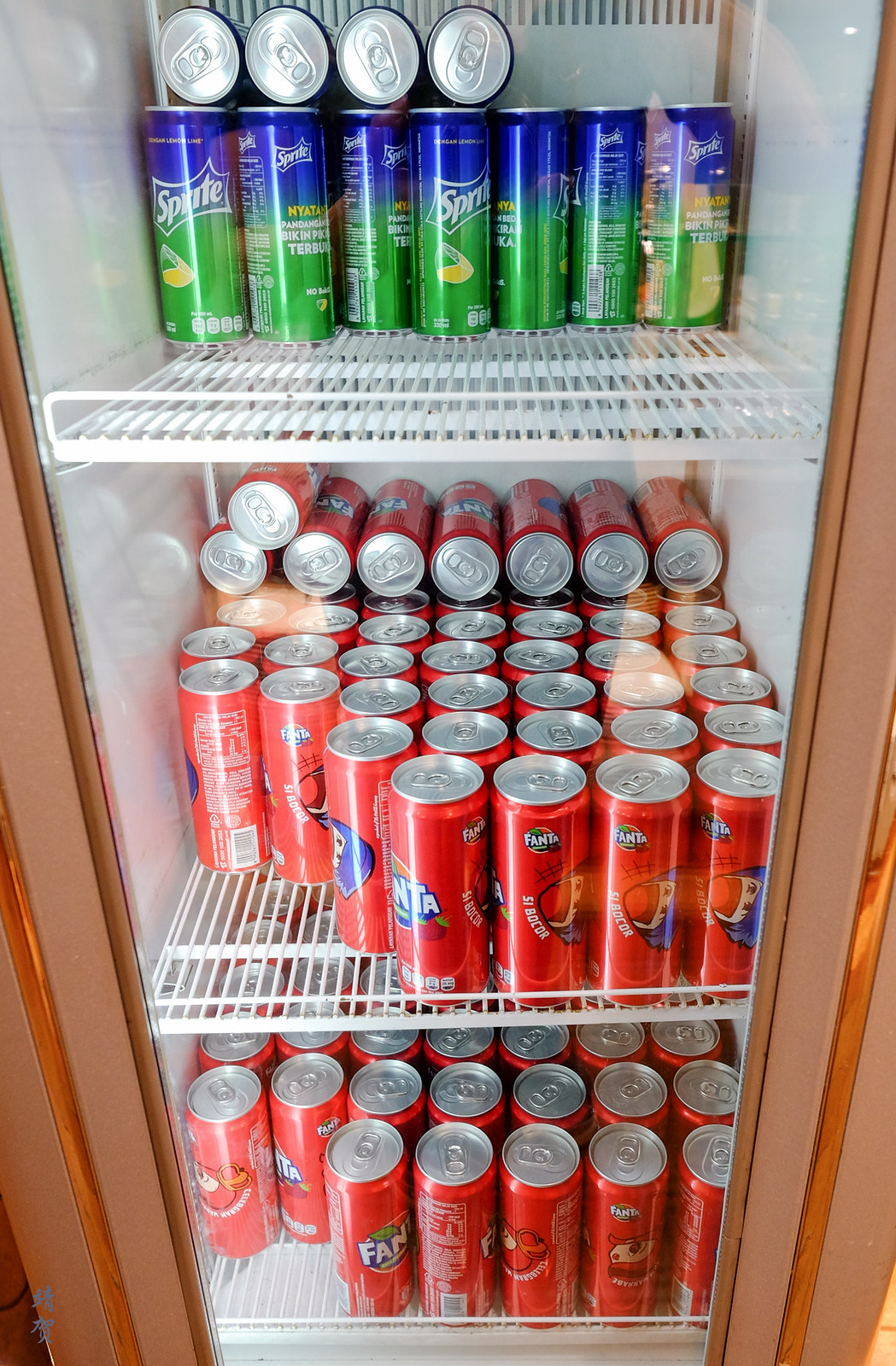 Soft drinks in the fridge