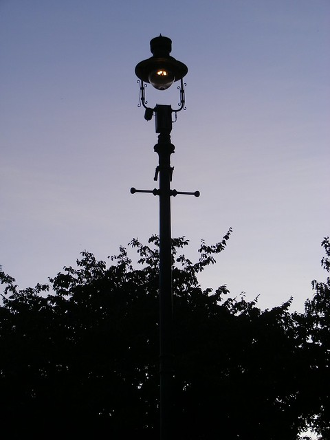 lamppost with darkening sky