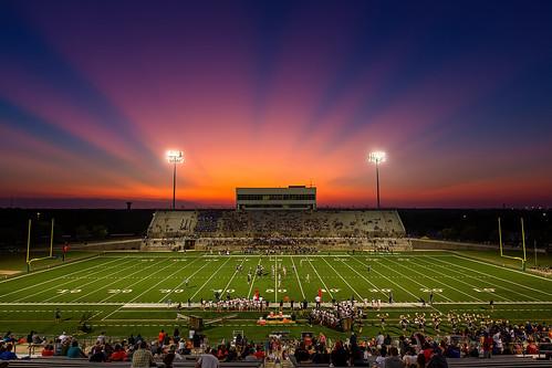 sunset stadium orange blue sky football game hs high school band people canon 5d3 tx austin texas krac mcneil mavericks