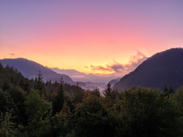 Sunrise in the mountains near Kiefersfelden, Bavaria, Germany