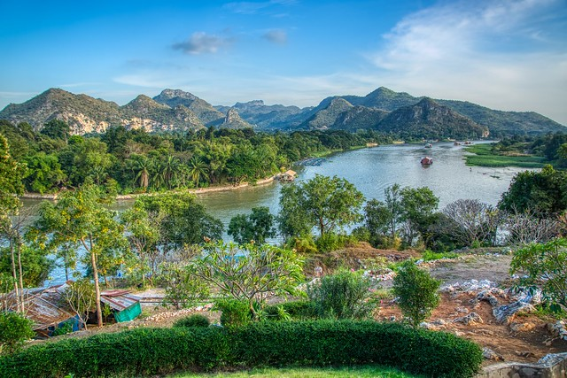 Landscape with river Kwae Noi seen from viewpoint at Wat Tham Khao Pun in Kanchanaburi, Thailand