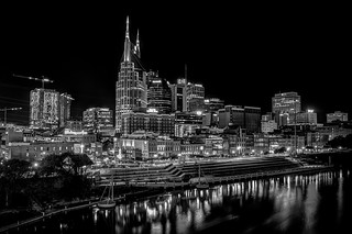 Nashville at Night in Black & White