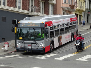 **San Francisco Municipal Transportation Agency 8869 2016-2017 NFI XDE30 Cummins ISL9 Allison H 50 EP 27 Bryant Chavez + Mission Hyde Street at California Street.