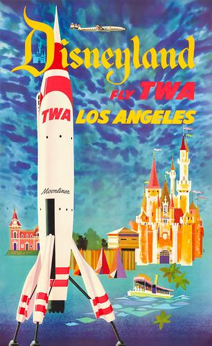Poster, Airline - TWA, 1955 - Fly TWA Los Angeles, Disneyland - Artist- David Klein