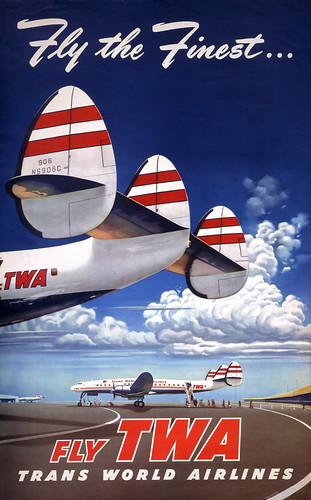 Poster, Airline - TWA, 1952 - Fly TWA, Fly the Finest - Artist- Frank Soltesz