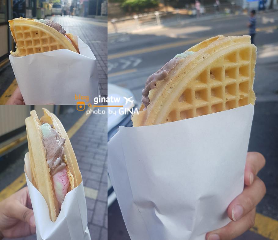 【弘大甜點】街頭美食|鬆餅冰淇淋( 와플 아이스크림 / Waffles with ice cream )路邊攤甜點系列/附交通地圖解說 @GINA旅行生活開箱