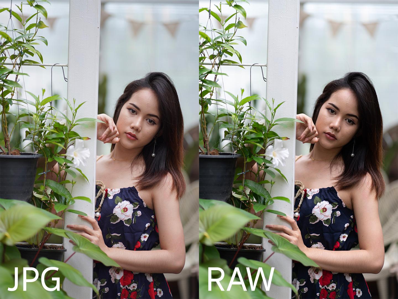 เทียบไฟล์ JPG กับ RAW Sony A7Riii เลนส์ 85mm f1.8 FE