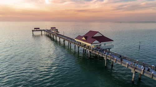 fl aerial dji drone florida phantom4pro phantom4proplus clearwater clearwaterbeachfl clearwaterbeach pier sunset water sea ocean atlantic atlanticocean sky beach shore