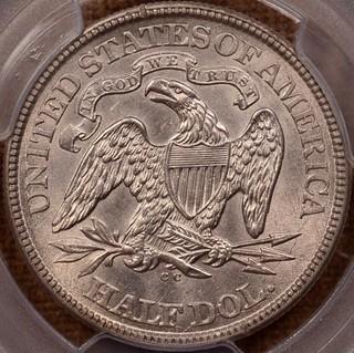 1873-CC No Arrows Seated Half reverse