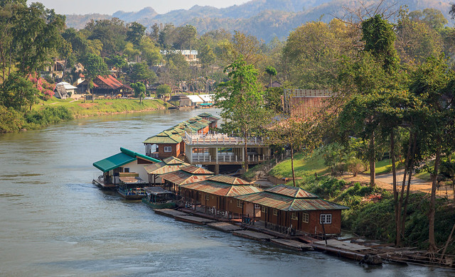 Floating bungalows on the river Kwai in Thailand.