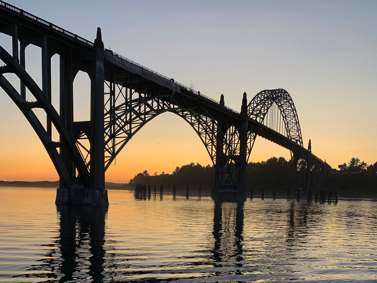 Silhouette of the Hwy 101 bridge