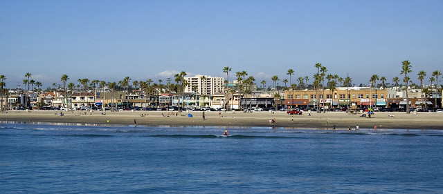 Newport Beach - snowy mountains in the back