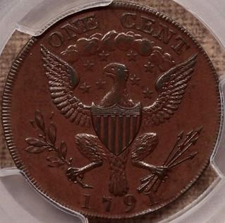 1791 Washington Cent, Small Eagle reverse