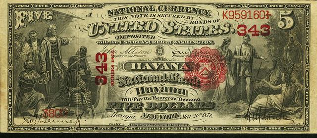 $5 Havana National Bank Note front